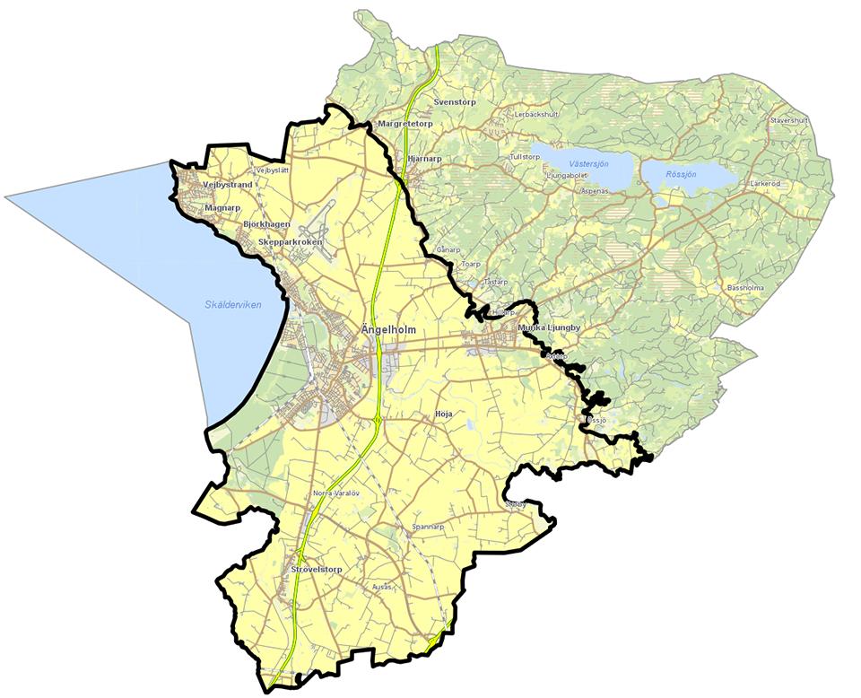 Kartbild som beskriver det markerade område där rutinerna ska följas